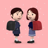 Boys and girls in elementary school entrance ceremony Cherry blossoms background Pink. 3D illustration. Happiness lifestyle people, 3D illustration Stock Image