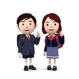 Boys and girls in elementary school entrance ceremony on white background . 3D illustration. Happiness lifestyle people, 3D illustration Stock Image