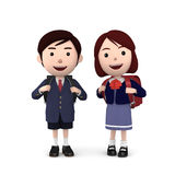 Boys and girls in elementary school entrance ceremony on white background . 3D illustration Royalty Free Stock Photography