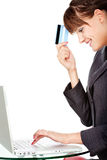 Happiness of on line shopping with credit card stock photos