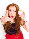 Happiness and love concept. Happy red hair woman holding valentine heart. Valentines day Stock Photography