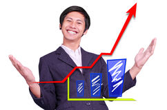 Happiness is successful graph Stock Photos