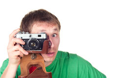 Happiness man with vintage photo camera Stock Photography