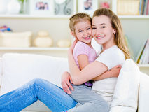 Happiness of mother with daughter stock images