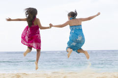 Happiness Mother and Girl Jumping Royalty Free Stock Photography