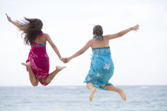 Happiness Mother and Girl Jumping Royalty Free Stock Images
