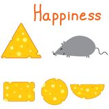 Happiness mouse and cheese Royalty Free Stock Photography