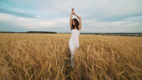 Happiness, nature, summer holidays, vacation and people concept - young woman in white dress walking along cereal field.  stock video