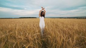 Happiness, nature, summer holidays, vacation and people concept - young woman in white dress walking along cereal field stock video footage
