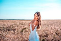 Happiness nature summer vacation - young woman in a white dress field sunny day in nature, concept of tenderness Stock Image