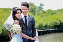 Happiness of newlywed couple with nature background. With copy space Stock Image
