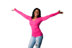 Happiness with open arms. Beautiful happy smiling young woman with open arms welcoming celebrating cheering, isolated Royalty Free Stock Images