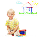 Happiness paint boy Stock Image
