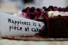 Happiness Is a Piece of Cake Close Up Photography Stock Photos