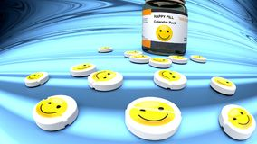 Happiness pills, medicine for sadness, bad day and depression. Happiness pills, medicine for bad mood, monthly dosage, pictured as a small tablets with yellow Stock Photos