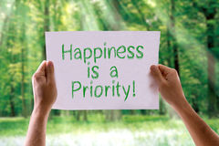 Happiness is a Priority card with nature background stock image