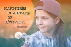 Happiness quote Aristotle Royalty Free Stock Image