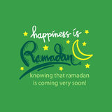 Happiness is Ramadan knowing that ramadan is coming very soon!. Hand lettering calligraphy Royalty Free Stock Photos
