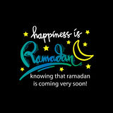 Happiness is Ramadan knowing that ramadan is coming very soon!. Hand lettering calligraphy Stock Photo
