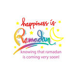 Happiness is Ramadan knowing that ramadan is coming very soon!. Hand lettering calligraphy Royalty Free Stock Photography
