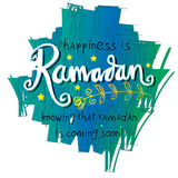 Happiness is Ramadan knowing that ramadan is coming very soon!. Hand lettering calligraphy Royalty Free Stock Images