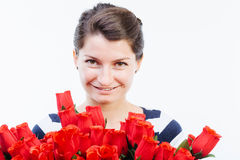 Happiness and red roses Stock Photos