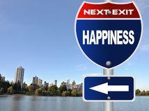 Happiness road sign Stock Photos