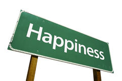 Happiness road sign. Isolated on a white background. Contains Clipping Path Royalty Free Stock Photography