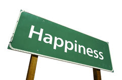 Happiness - Road Sign. Isolated on white background. Includes Clipping Path Stock Image