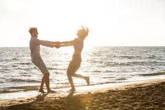 Happiness and romantic Scene of love couples partners on the Beach Royalty Free Stock Photography