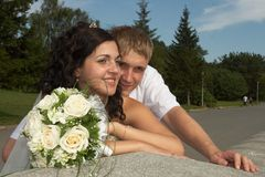 Happiness, it's easy. Happy moments together, summer, green plants and sun Royalty Free Stock Photos