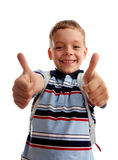 Happiness schoolboy shows OK Royalty Free Stock Image