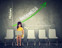 Happiness and self realization concept. Woman using laptop on an opportunity graph growth background. Happiness and self realization concept. Woman using laptop royalty free stock image