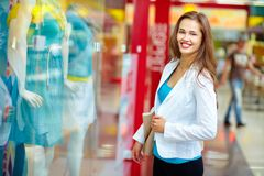 Happiness of shopaholic Stock Image