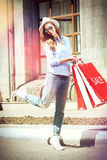 Happiness of shopping Stock Images