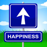 Happiness Sign Indicates Arrows Advertisement And Positive Royalty Free Stock Photo