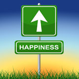 Happiness Sign Shows Joy Placard And Arrow Stock Photos