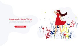 Happiness in Simple Things Flat Vector Web Banner vector illustration