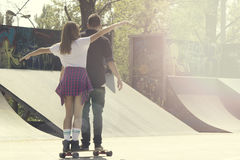 Happiness in skate park Stock Image