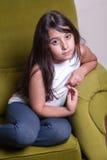 Happiness of smal arab girl at home Royalty Free Stock Photo