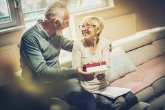 Happiness is when someone gives a smile. Senior couple celebrating anniversary. Senior couple with document and laptop royalty free stock images