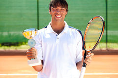Happiness tennis player Stock Photography