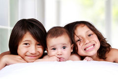 Happiness of three little brothers Royalty Free Stock Photography