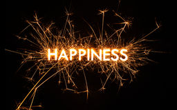 HAPPINESS title word in glowing sparkler Stock Photos