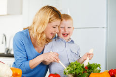 Happiness together in the kitchen Royalty Free Stock Photos