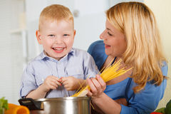 Happiness together in the kitchen Royalty Free Stock Image