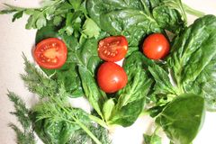 Vegetables for diet greens tomatoes spinach salad royalty free stock image