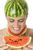 Happiness with water melon Stock Photos