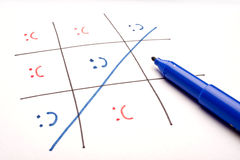 Happiness Wins!. Happy and sad emoticons are used ina game of Tic-tac-Toe to built a concept Stock Photo