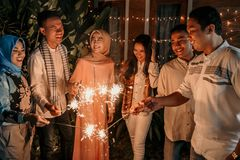 Free Happiness With Friends When Celebrating Takbir Night On Eid Holiday Royalty Free Stock Photos - 147918548